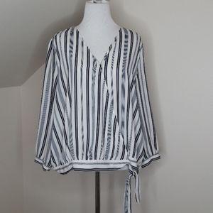 Loft Navy Blue Striped 3/4 Sleeve Blouse Size L